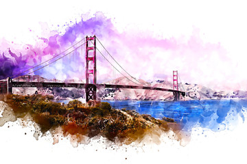 Golden Gate Bridge watercolor abstract rendition