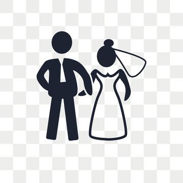 Newlyweds vector icon isolated on transparent background, Newlyweds logo design