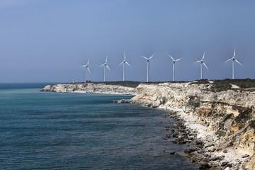 Windmills on Polente Hill in Bozcaada island, Turkey