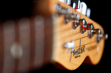 "A detail of a ""Made in USA"" Fender Telecaster model electric guitar is pictured in Rome"