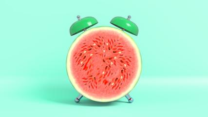 Réveille matin vintage en forme de pastèque. Concept illustrant qu'il est l'heure de prendre ses vitamines. Rendu 3D.