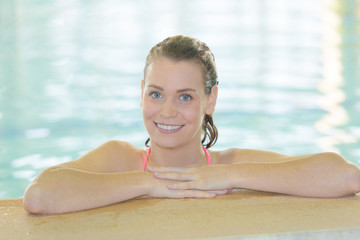 portrait of a young womanin swimming pool