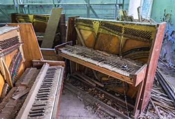 Music shop in abandoned Pripyat city in Chernobyl Exclusion Zone, Ukraine