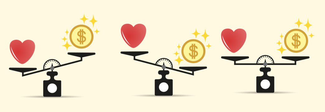Set Heart money and on the scales. Different tilt options. The balance of money and love scale. The concept of choice . Scales with love and money coins. Vector isolated on light background.