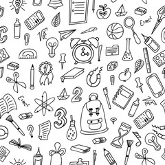 Doodle seamless background. School pattern with hand drawn supplies. Vector illustration