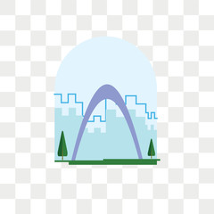 Gateway arch vector icon isolated on transparent background, Gateway arch logo design