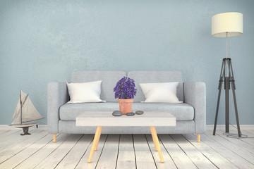 Skandinavisches, nordisches Wohnzimmer - Sofa - Couch - Textfreiraum - Platzhalter - maritime Dekoration