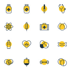 Vector illustration of 16 medicine icons line style. Editable set of drug, syringe, heart with cardiogram and other icon elements.