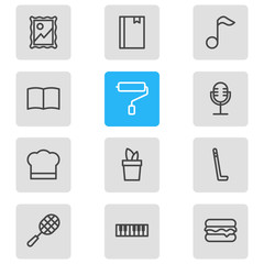 Vector illustration of 12 lifestyle icons line style. Editable set of cooking, picture, plant and other icon elements.