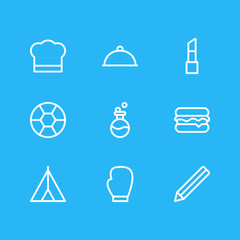 Vector illustration of 9 lifestyle icons line style. Editable set of flask, catering, box glove and other icon elements.