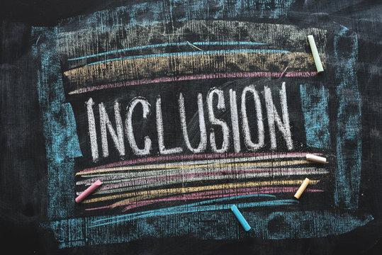 Word Inclusion on school blackboard
