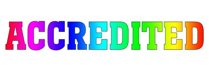 accredited Multicolor logo rainbow style isolated white