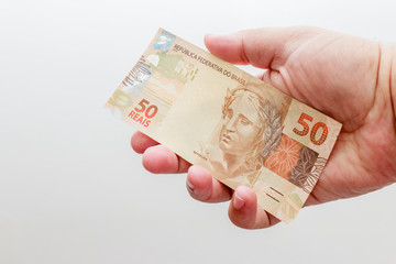 Note of 50 Reais, current money Brazilian
