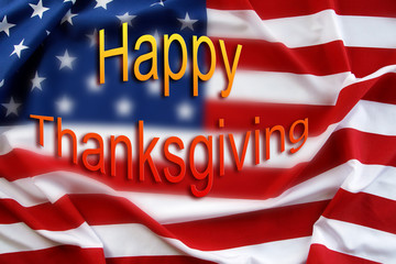 American flag. Happy Thanksgiving