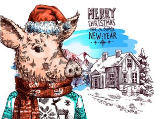 Hand drawn vector illustration pig sketch. Symbol of new year 2019