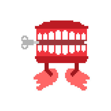Chatter teeth toy pixel art. April Fools Day symbol. 8 bit Jaw toy vector illustration
