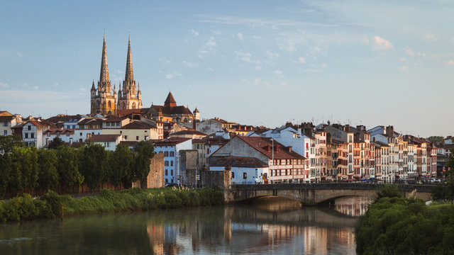 Bayonne, France cityscape view with Cathedral and Nive river