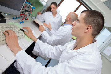 young male scientists cultivating scientific research experiment