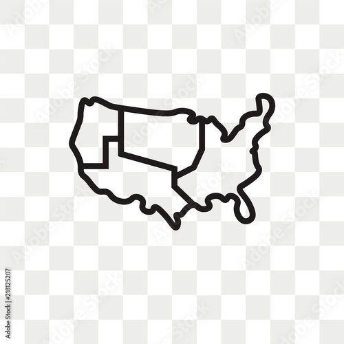 Us Map Vector Icon Isolated On Transparent Background Us Map Logo