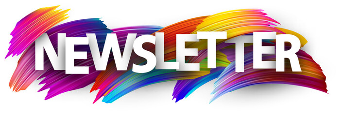 Newsletter banner with colorful brush strokes.