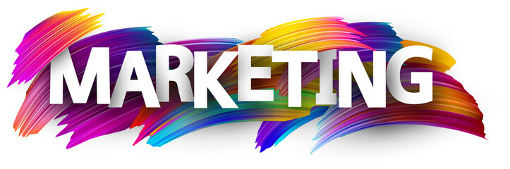 Marketing sign with colorful brush strokes.