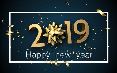 Blue 2019 happy New Year card with golden bow and serpentine.