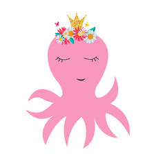 Little cute octopus princess with crown and flowers for card and shirt design. Vector Illustration