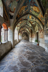 Cathedral of Brixen, South Tyrol. Frescoes in the cloister.