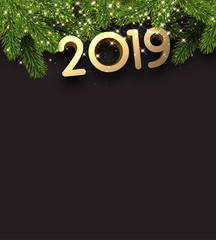 Black 2019 New Year background with fir branches.