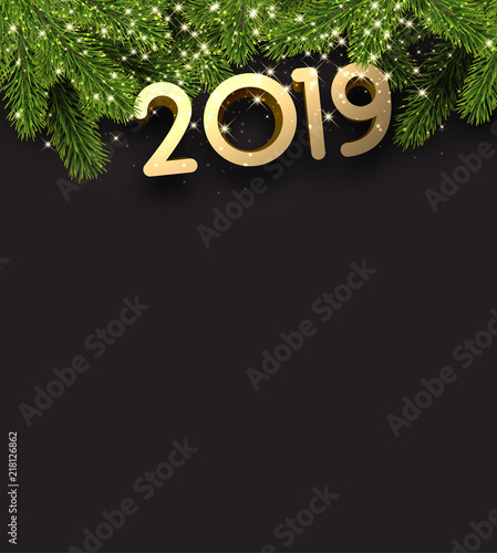 black 2019 new year background with fir branches