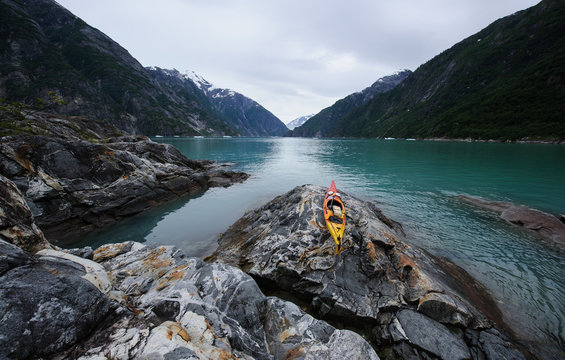 Kayak on Sawyer Island in Tracy Arm Fjord near Juneau, Alaska