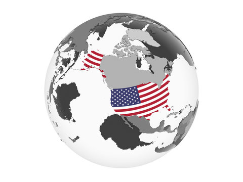 USA with flag on globe isolated