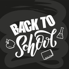 Hand sketched Back to school lettering on black blackboard with picture of apple, flask, book. Perfect design for banner, flyer, greeting cards, posters, T-shirts. Flat scratched Vector illustration