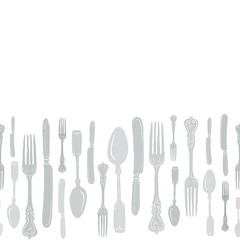 Seamless Vintage Heirloom Silverware Horizontal Border Vector Repeat Pattern in Subtle Gray Green Palette on Light Background