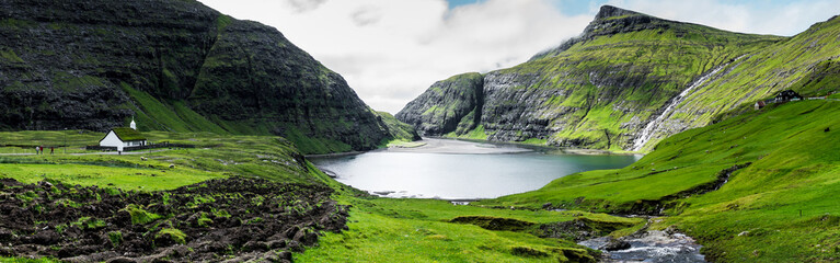 Panoramic view of Saksun, Faroe Islands