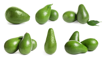 Set with fresh ripe avocados on white background