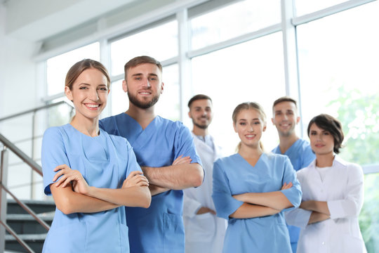 Team of doctors in uniform at workplace