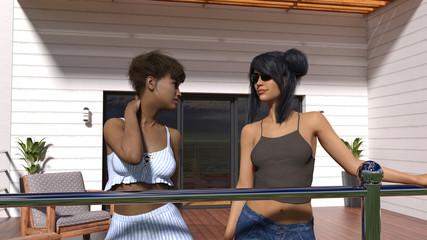 Illustration of two women talking outside