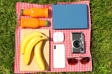 Aluminium Prints Picnic Flat lay composition with food, phone and camera on blanket in park. Summer picnic