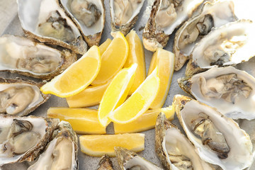Fresh oysters with cut juicy lemon on plate, closeup