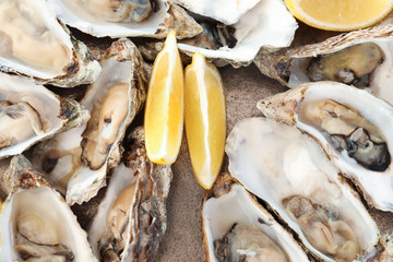 Fresh oysters with cut juicy lemon, top view