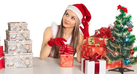 Santa Woman Sitting at The Table with Gifts - Isolated