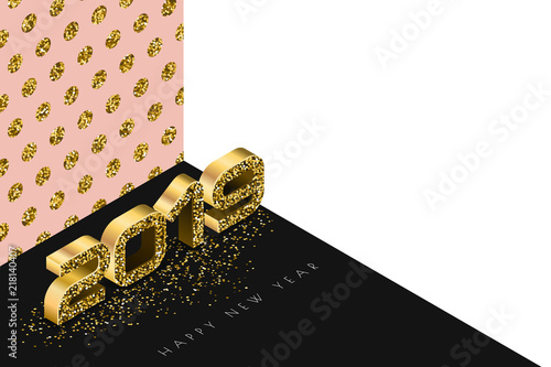 Happy New Year 2019 Vector Banner With Golden Numbers In 3d