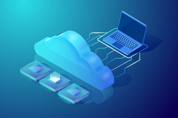 Cloud computing and storage. Isometric vector illustration. Abstract design concept. Picture showing laptop, cloud and central processing units. Hosting and data processing.