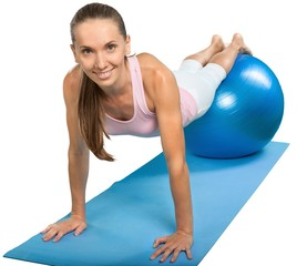 Portrait of a Fit Woman Exercising with Gym Ball