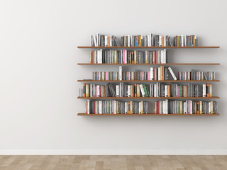 interior bookshelf room library. 3d rendering