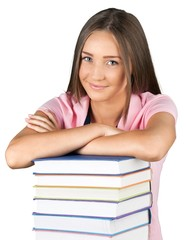 Portrait of a Young Woman with a Stack of Books
