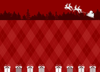サンタクロース ギフトボックス アーガイル背景