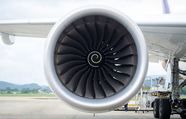 Close up engine of airplane
