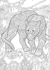 Coloring Page. Coloring Book. Colouring picture with Black Panther.